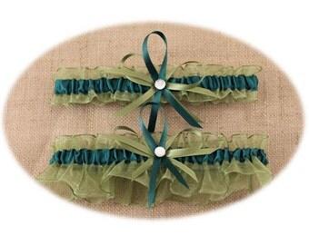 Sage Green and Hunter Green Wedding Garter Set, Bridal Garter Set, Prom Garter  (Your Choice, Single or Set)