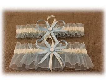 Light Blue and Ivory Wedding Garter Set, Bridal Garter Set, Prom Garter
