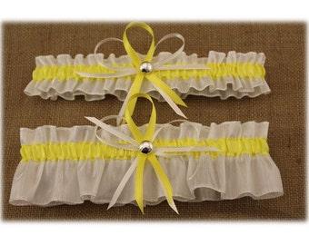 White and Yellow Wedding Garter Set, Bridal Garter Set, Prom Garter  (Your Choice, Single or Set)
