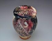 Vase Urn Pit fired Porcelain Sculpted Vase