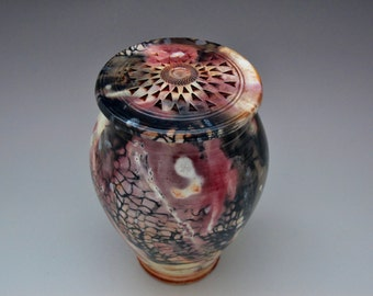 Vase Urn Pit fired Porcelain Sculpted Vase
