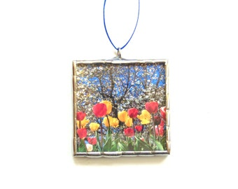 Spring flower ornament, tulip garden, mini wall art, red tulips, flower stained glass ornament, nature photography, everlasting flowers