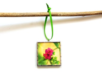 Pink wildflower ornament, bright colorful flower, stained glass Summer ornament, gift under 20, gardener gift, gift for Mom, teacher gift