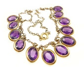 Art Deco Necklace Amethyst Glass Gold Filled Open Back Bib Style Antique Jewelry