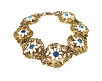 Art Deco Bracelet Gold Filigree White Daisy Blue Rhinestone Antique Jewelery