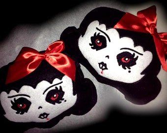 Baby Fang TM Vampire Pillow Mini Throw Pillow Felt Stuffies Spooky Cutie Felt Embroidered Embroidery