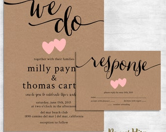 Rustic Wedding Invitation / kraft paper wedding invite set / modern vintage wedding invitation / printable file or printed cards