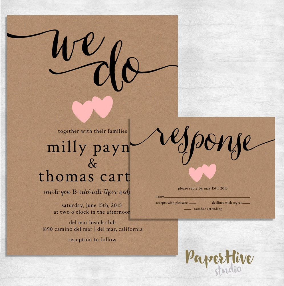 Paper For Wedding Invitation: Rustic Wedding Invitation / Kraft Paper Wedding Invitation