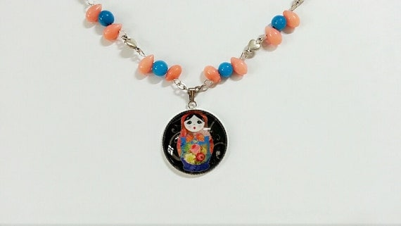 necklace, russian stacking doll charm, Babushka jewelry, nesting doll ...