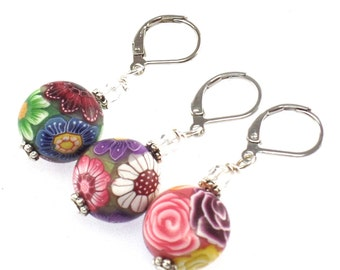 Polymer Clay Stitch Marker, Flower Design