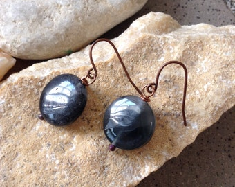 Smokey Quartz Antique Copper Earrings
