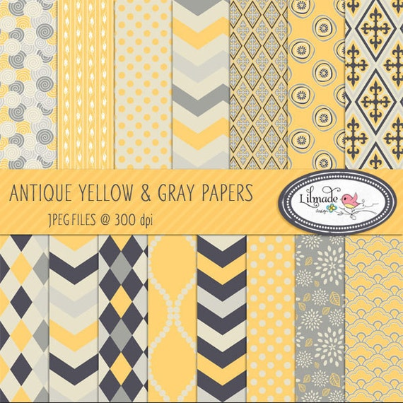 Yellow and gray digital paper, digital paper, scrapbook paper, vintage paper, vintage patterned paper for commercial use, P83