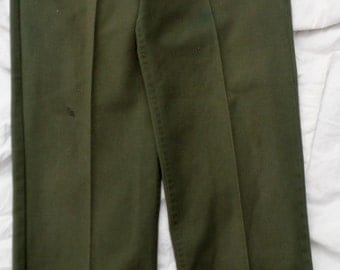 Vintage Repro Od Green Polycotton Ideal Zip Fly Military Styled 32 X 33 Utility Fatigue Pants that look real (20 % DISCOUNT APPLIED)