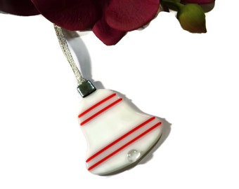 Retro Christmas Ornament, Fused Glass, Bell Ornament, White and Red, Old Fashioned, Glass Ornament, Christmas Decor, Holiday Decor
