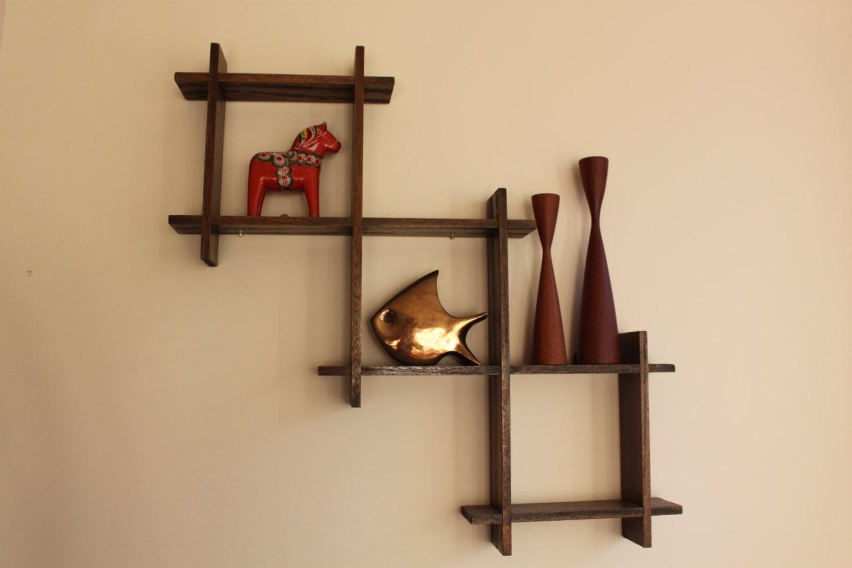 Vintage Mid Century Modern Wooden Floating Shelf Hanging