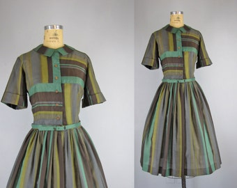1950s striped dress / vintage green, brown, gray and olive mixed striped bodice shirtwaist dress with full skirt / large