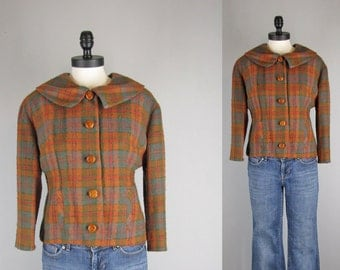 vintage 1960s  jacket / smart 1960s blouson back wool plaid crop jacket with oversized collar/ medium