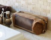 NO. 321 Personalized Expandable Dopp Kit in Brown Waxed Cotton Canvas and Horween Leather, Custom Gift for Dad, Men's Travel Toiletry Bag
