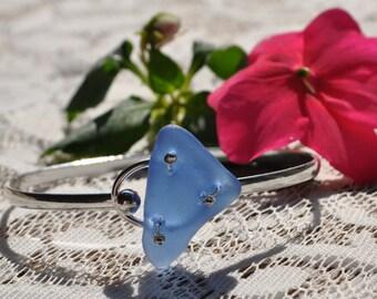 Sea Glass Jewelry Beach Bracelet in Solid Sterling Silver and Dark Cornflower 4433C