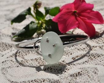 Sea Glass Jewelry Beach Bracelet in Solid Sterling Silver and Seafoam Green 7782