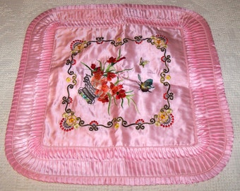 nos Vintage Chinese Pink Satin, Embroidery and Rufles Souvenir Pillow Case Cover Unused