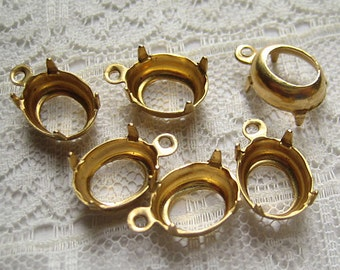 1 or 2 Ring 10x8 Oval Brass Prong Rhinestone Setting Dangle