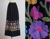 Crewel Intentions . vintage 1960s skirt . vintage maxi skirt . 5336