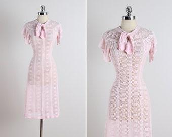 Evelynth . vintage 1930s dress . vintage crochet dress . 5341