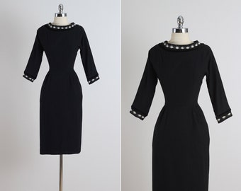 Georgia Wells . vintage 1950s dress . vintage wool dress . 5346