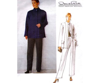 90s Oscar De La Renta Jacket & High Waisted Pants Pattern Vogue American Designer 2188 Vintage Sewing Pattern Size 12 - 14 -16 UNCUT FF
