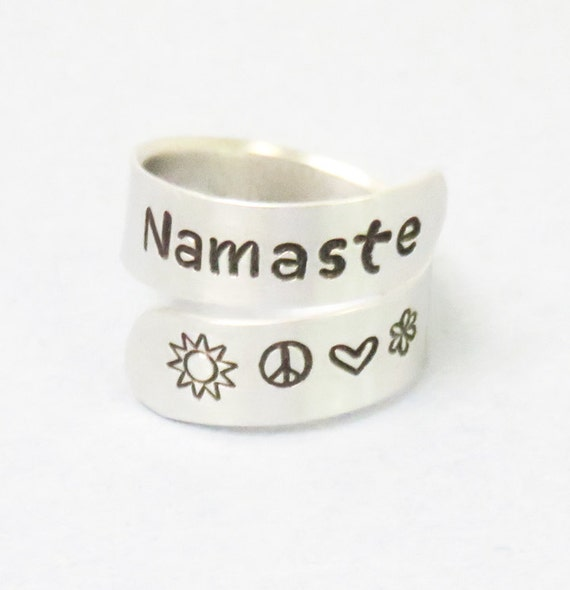 Namaste ring - Yoga ring - Positive energy jewelry - sun peace love flower ring - Hindu Indian Sanskrit greeting ring