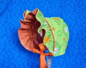 Reversible Baby Bonnet Lime Green and Orange
