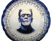 "Flow Blue Frankenstein Portrait Plate - Altered Antique Plate 6.5"""