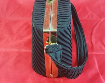 Black Pleated Fabric Hard Frame Handbag Unsigned