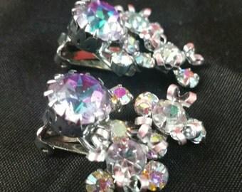 Purple Lavender AB Crystal Rhinestone Clip Earrings Signed Austria