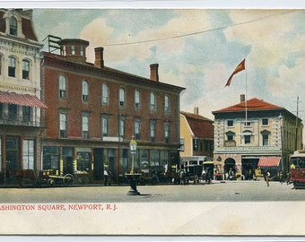 Washington Square Newport Rhode island 1907c postcard