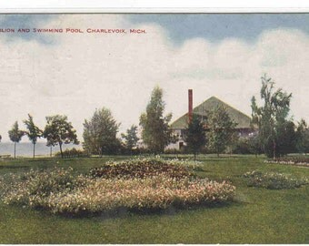 Pavilion & Swimming Pool Charlevoix Michigan 1910 postcard