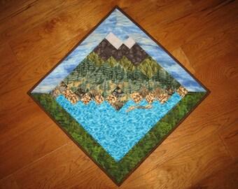 Lake Tahoe Mountains Art Quilt Fabric Wallhanging