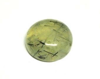Natural Prehnite With Epidote Round Cabochon - 13.2-13.3 x 6.5 mm - 9.7 ct - 150910-71
