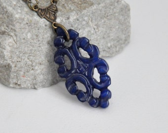 Carved Dark Blue Jade Pendant Necklace, Blue Stone Necklace, Filigree Lace Necklace, Asian Gemstone Necklace, Antique Brass Necklace, Unique