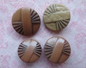 Vintage beautiful art deco design tan and beige color round plastic shank buttons. Lot of 4 mother daughter buttons..