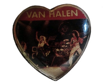 vintage VAN HALEN band heavy metal pin button 1984 david lee roth