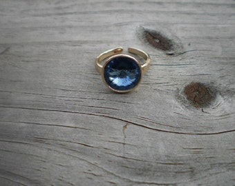 Denim Blue Swarovski Rivoli Adjustable Ring