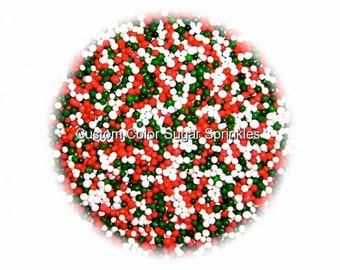 CHRISTMAS NONPAREILS Edible Sprinkles,Red,Green, White, Cakepops Cupcake CandyConfetti Decorations