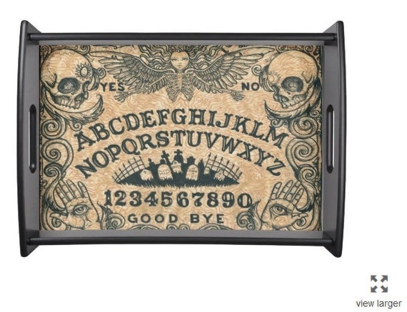 Ouija Board Angel tray in black and beige