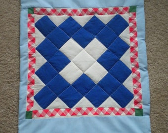 Shades of Blue Vintage Quilt Square for Doll Quilt or Wall Hanging Cute Pet Mat