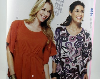 Kwik Sew 3891, Misses' Tops Sewing Pattern, Pull-over Top Sewing Pattern, Misses' Sewing Pattern, Misses' Sizes XSmall to XLarge, New, Uncut