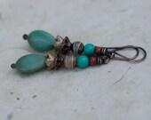 Rustic Bohemian Dangle Green Drop earrings - simple dangle , Czech flower , garden spring , simplistic , solid copper jewelry , light weight