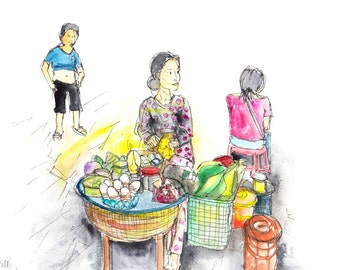 Street Food, Egg seller, Print