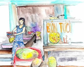 Vietnam Market, Jackfruit Vendor, Print